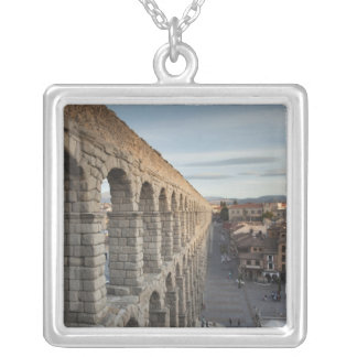 Town view over Plaza Azoguejo & El Acueducto Silver Plated Necklace