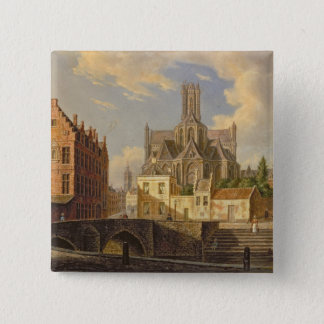 Town View with Figure fishing in a Canal 15 Cm Square Badge