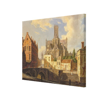 Town View with Figure fishing in a Canal Stretched Canvas Print
