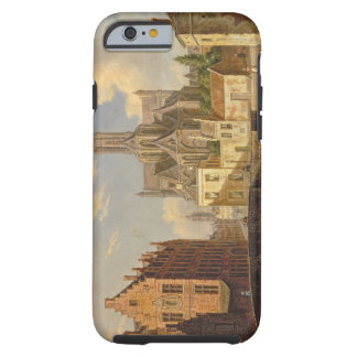 Town View with Figure fishing in a Canal Tough iPhone 6 Case