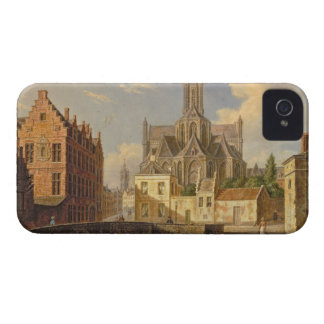 Town View with Figure fishing in a Canal iPhone 4 Covers