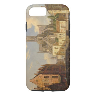 Town View with Figure fishing in a Canal iPhone 7 Case