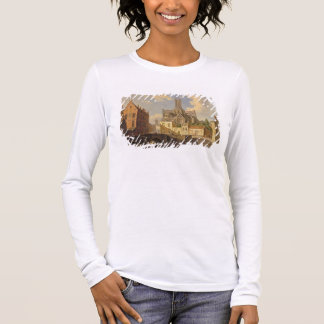 Town View with Figure fishing in a Canal Long Sleeve T-Shirt
