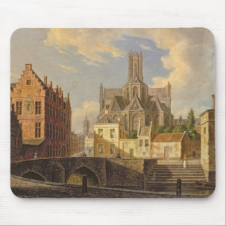 Town View with Figure fishing in a Canal Mouse Pad