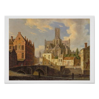Town View with Figure fishing in a Canal Poster