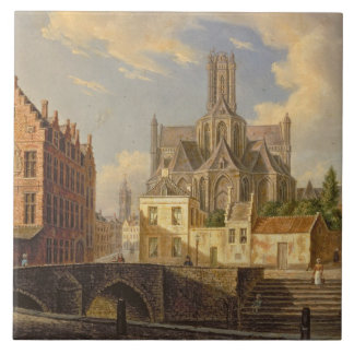 Town View with Figure fishing in a Canal Tile