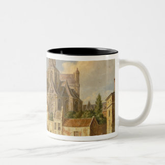 Town View with Figure fishing in a Canal Two-Tone Coffee Mug