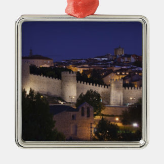 Town walls from Los Cuarto Postes, dusk Silver-Colored Square Decoration