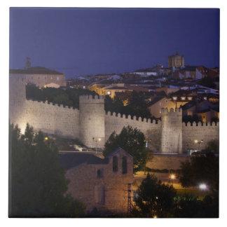 Town walls from Los Cuarto Postes, dusk Tile