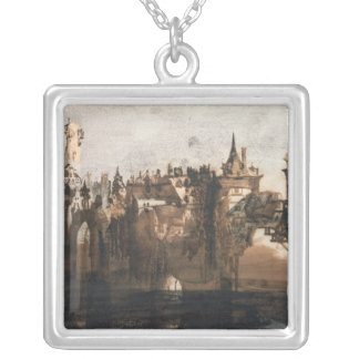 Town with a Broken Bridge Silver Plated Necklace