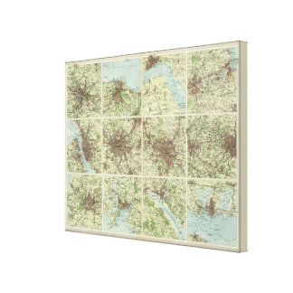 Towns of England & Scotland on a uniform scale Canvas Print