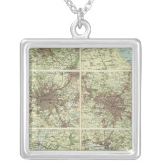Towns of England & Scotland on a uniform scale Silver Plated Necklace