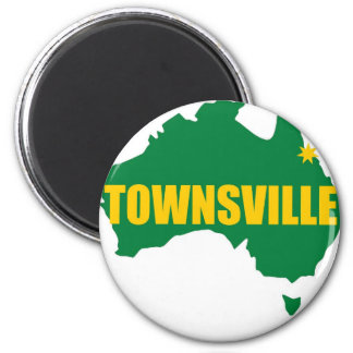 Townsville Green and Gold Map 6 Cm Round Magnet
