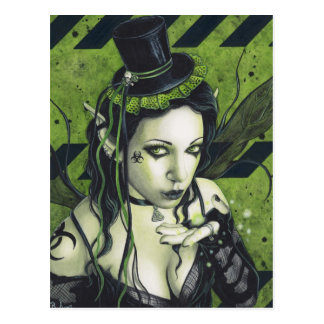 Toxic Gothic Green Fairy Post Card