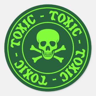 Toxic Green Skull and Crossbones Sticker