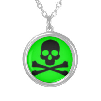 Toxic Green Skull Silver Plated Round Necklace