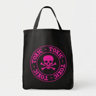 Toxic Pink Skull Tote Bag