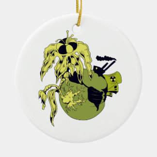 toxic planet Double-Sided ceramic round christmas ornament