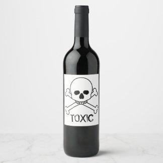 Toxic Skull And Crossbones Design Wine Label