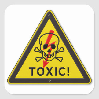 Toxic Skull and Crossbones Warning Road Sign Square Sticker