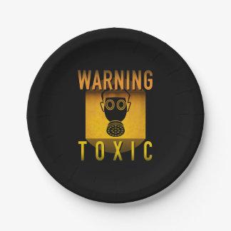 Toxic Warning Gas Mask Retro Atomic Age Grunge : 7 Inch Paper Plate