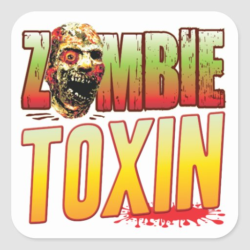 Toxin Zombie Head Square Stickers