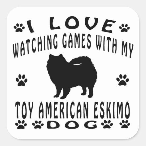 Toy American Eskimo Dog Design Stickers