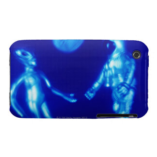 Toy astronaut and alien, close-up (blue tone, Case-Mate iPhone 3 cases