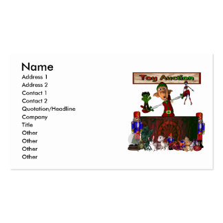 Toy Auction Elf Design Christmas Holiday Business Card Template