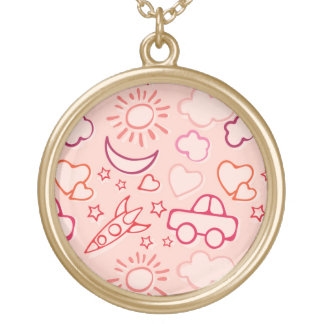 toy background round pendant necklace