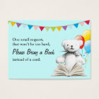 Toy Bear Bring a Book Request Baby Shower Insert