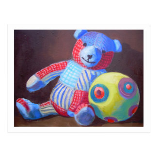 Toy bear with a ball postcard