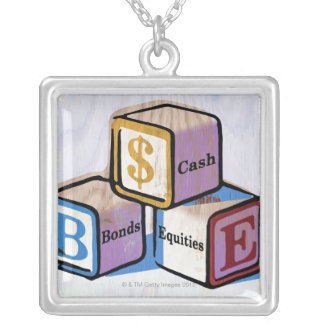 Toy Blocks Silver Plated Necklace