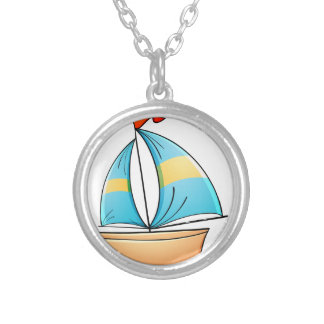 Toy boat silver plated necklace