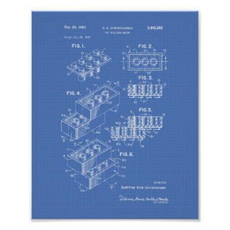 Blueprint posters prints zazzle toy building brick 1961 patent art blueprint poster malvernweather Images