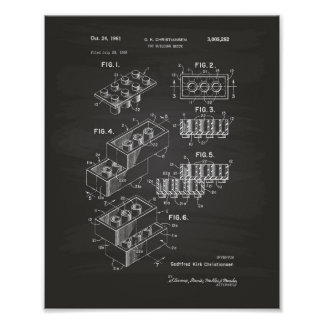 Toy Building Brick 1961 Patent Art - Chalkboard Poster