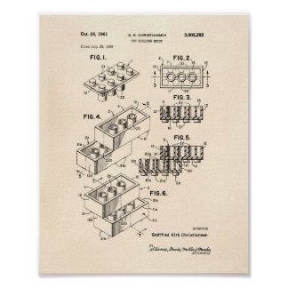 Toy Building Brick 1961 Patent Art - Old Peper Poster