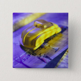 Toy car 15 cm square badge