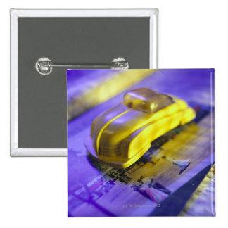 Toy car 15 cm square badge