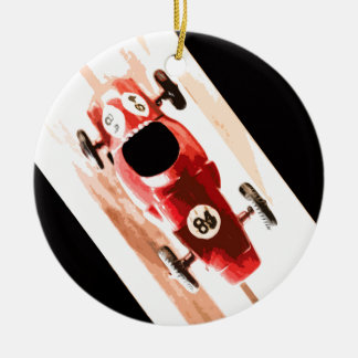 Toy Car on Wooden Track Round Ceramic Decoration