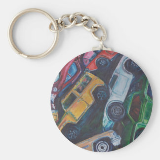 Toy Car Painting Basic Round Button Key Ring