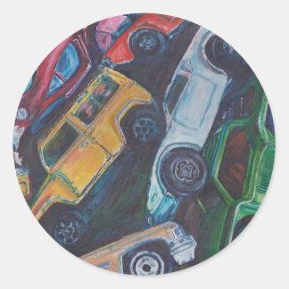 Toy Car Painting Round Sticker