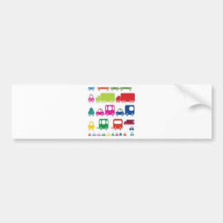 Toy cars and bus design bumper stickers