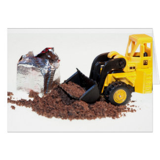 Toy digger with stock cube greeting card
