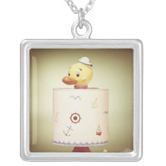 Toy duck lamp silver plated necklace