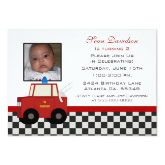 Toy Fire Truck Birthday Party Invitation
