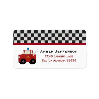 Toy Firetruck Address Labels