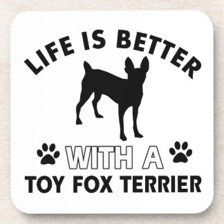 Toy Fox Terrier dog breed designs Drink Coasters