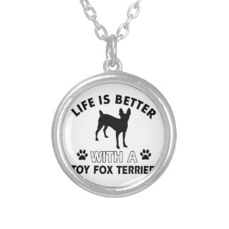Toy Fox Terrier dog breed designs Silver Plated Necklace