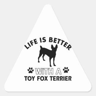 Toy Fox Terrier dog breed designs Triangle Sticker
